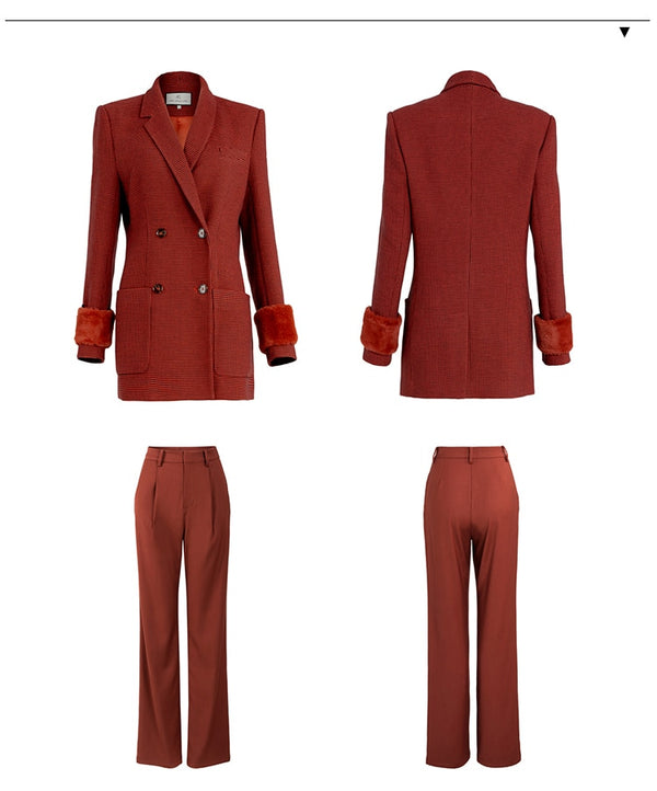 Wine Red Long Pants Blazer Suits - Jance Samantha Beauty & Fashion