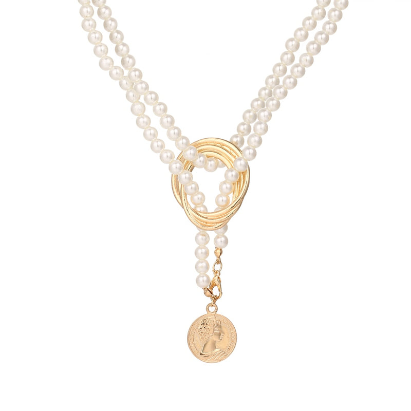 Vintage Geometric Pearl Chain Twisted Alloy Pendant - Jance Samantha Beauty & Fashion, LLC