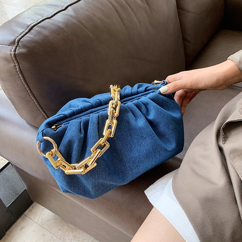 Thick Chain Cloud Bag Retro Underarm Bag - Jance Samantha Beauty & Fashion, LLC