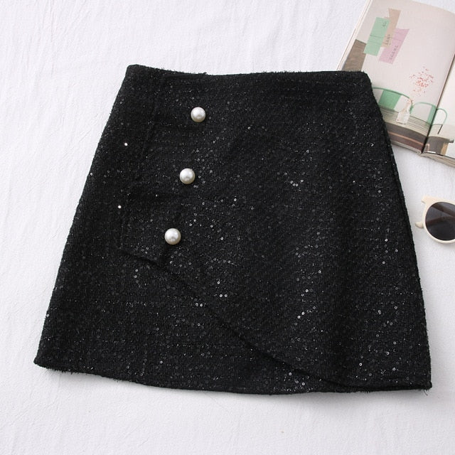 Tweed Skirts for Women Solid High Waist Slimming  Buttons Double Breasted Tweed Wool Mini Skirt - Jance Samantha Beauty & Fashion, LLC