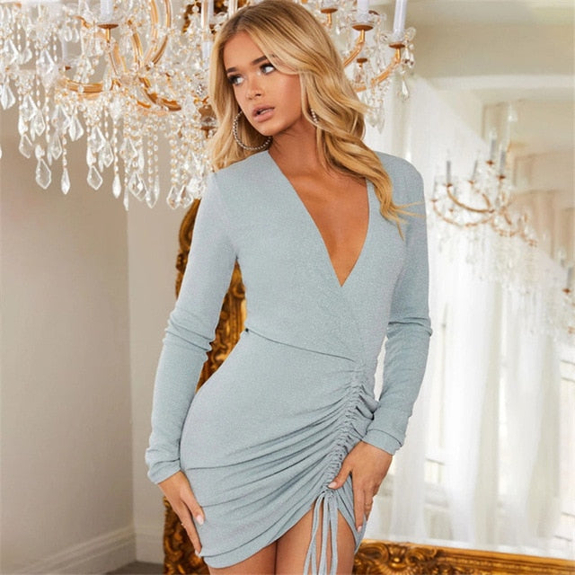 glitter wrap sexy v neck pleated long sleeve dress skater ruched mini party dress women - Jance Samantha Beauty & Fashion, LLC