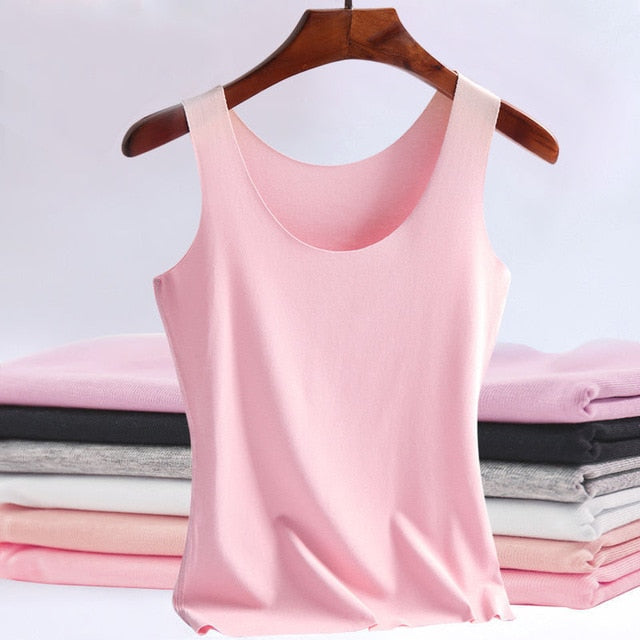 Summer Women Tank Tops Casual seamless Ice Silk Sleeveless Vest Sexy Solid Camisole - Jance Samantha Beauty & Fashion, LLC