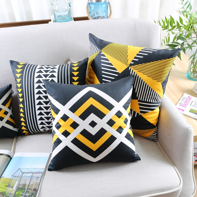 Soft Velvet Cushion Cover Yellow Black Geometric Arrow Triangle Home Decorative - Jance Samantha Beauty & Fashion