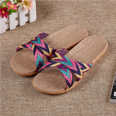 Flax Slippers Flats Colored Cross Belt Casual Slippers - Jance Samantha Beauty & Fashion