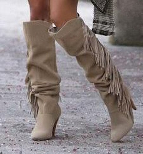 Tassel Winter Suede Leather Boots - Jance Samantha Beauty & Fashion