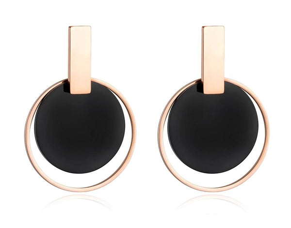 Black Disc & Rose Gold Circle Earring - Jance Samantha Beauty & Fashion