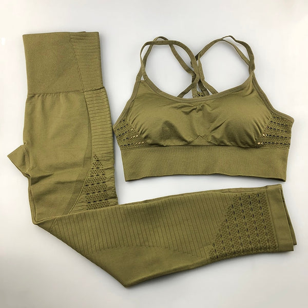 Seamless Yoga Set Padded Push-up Strappy Sports Bra - Jance Samantha Beauty & Fashion