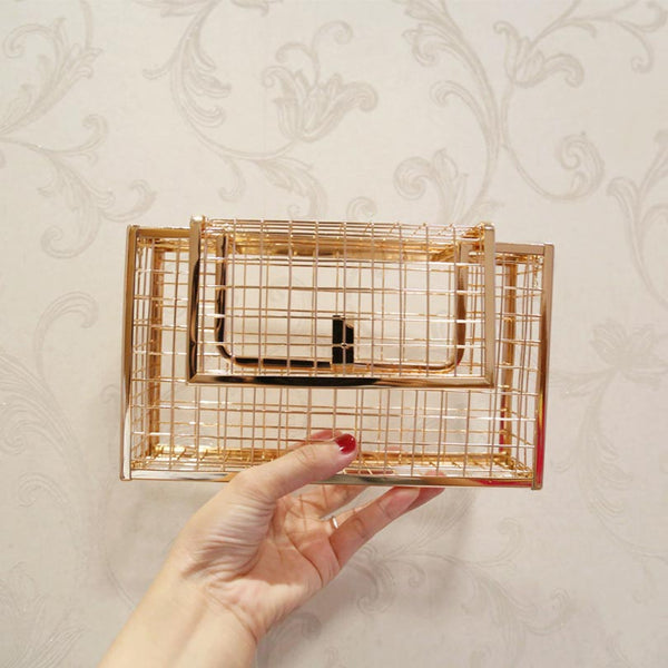 Metal Hollow Fashion Clutches Cage Chain Purse - Jance Samantha Beauty & Fashion
