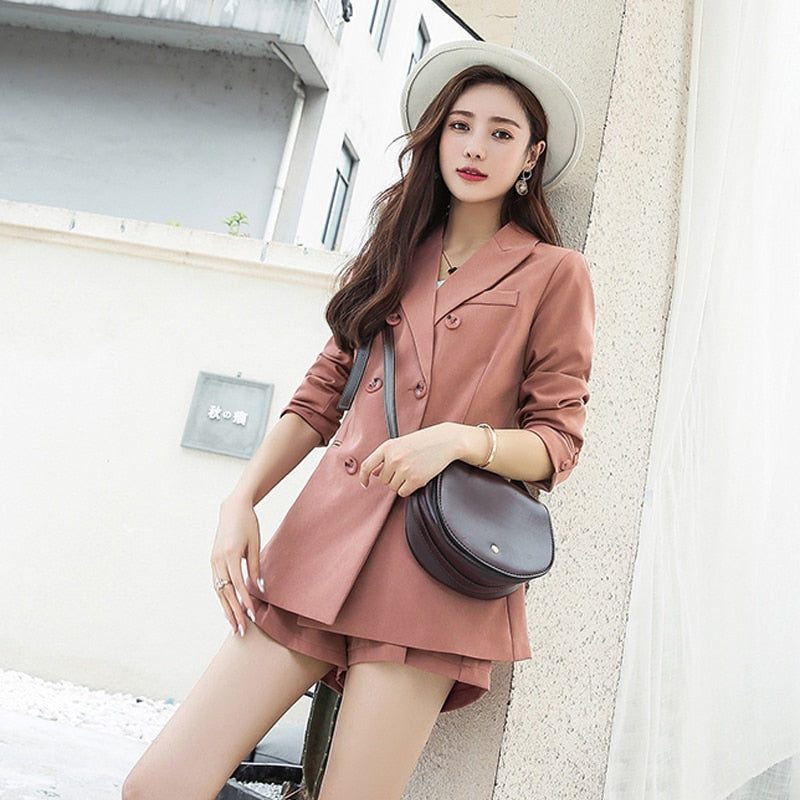 Notched Collar Blazer Jacket & Sashes Shorts  Set - Jance Samantha Beauty & Fashion