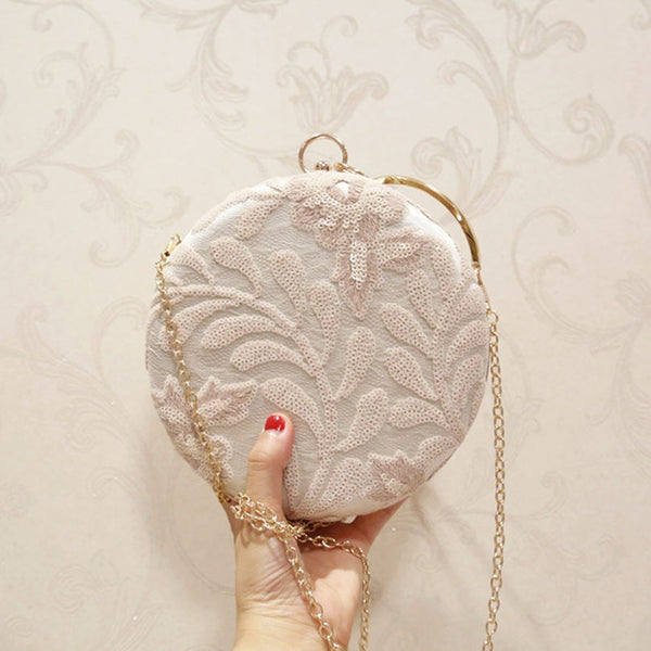 Embroidered Floral Decoration Evening Bag - Jance Samantha Beauty & Fashion