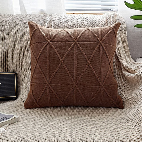 Solid Double Cable Knit Cushion Cover Vintage - Jance Samantha Beauty & Fashion