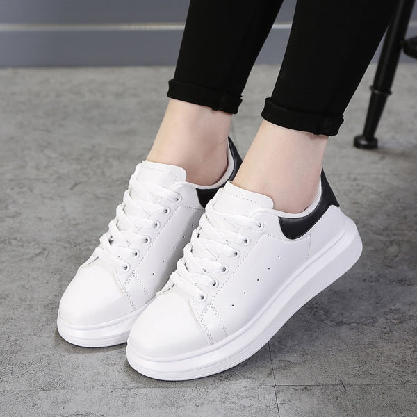 Flats Fashion White Sneakers Women Shoes Casual Korean Style - Jance Samantha Beauty & Fashion