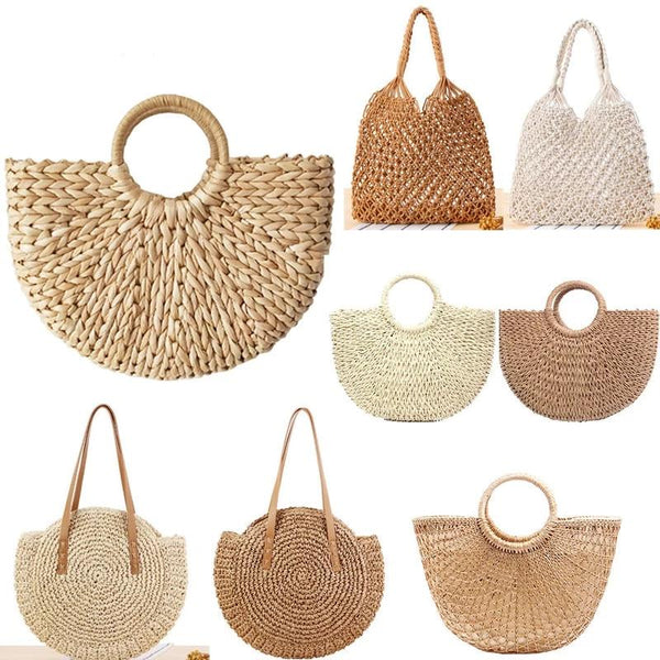 Vintage Rattan Handmade Beach Bag - Jance Samantha Beauty & Fashion