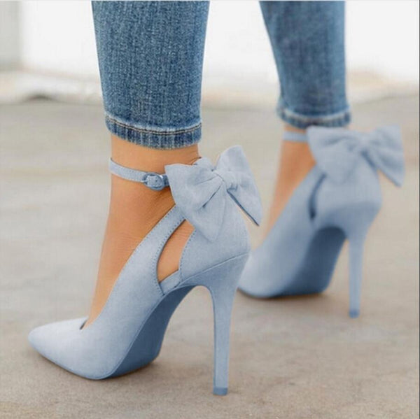 Suede Pointed Toe Back Bowtie Thin High Heel - Jance Samantha Beauty & Fashion