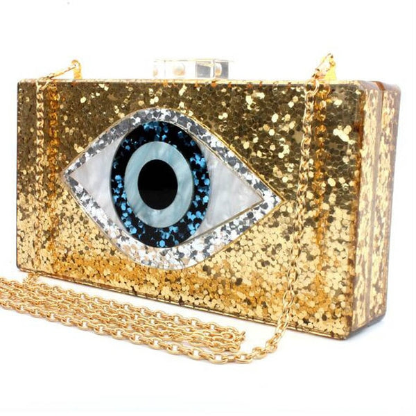 Bling Patchwork Glitter Evil Eye Acrylic Clutches - Jance Samantha Beauty & Fashion