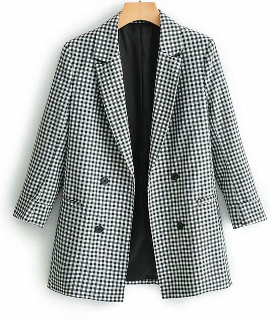 Plaid Elegant Blazer - Jance Samantha Beauty & Fashion