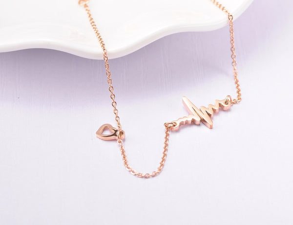 Trendy Rose Gold Love Heartbeat Chain & Link Bracelet - Jance Samantha Beauty & Fashion