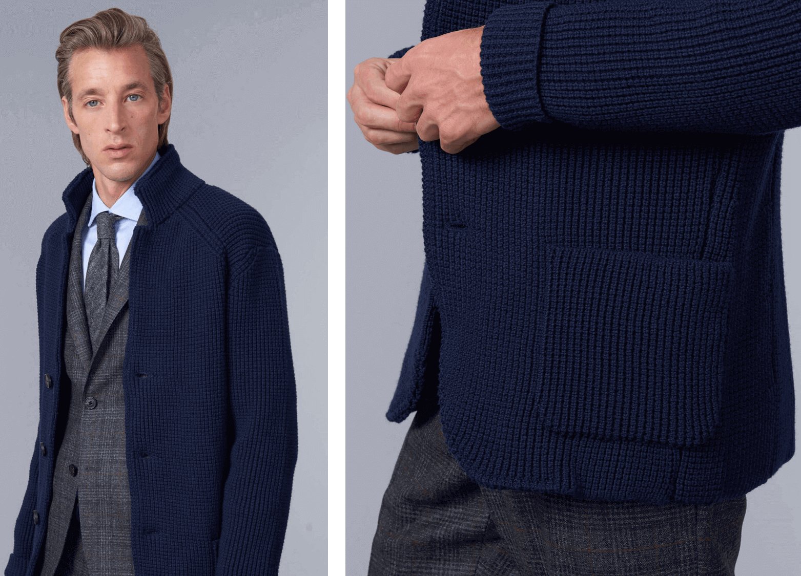 two photos of model wearing Baldassari knitted jacket in navy