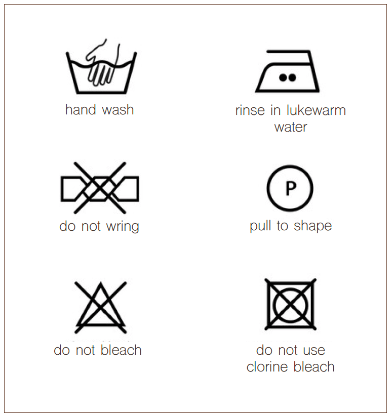 laundry instructions with symbols
