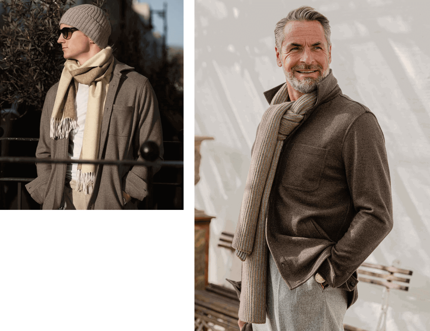 two male models wearing Baldassari cashmere products, sweaters, blazers, scarfs, hat