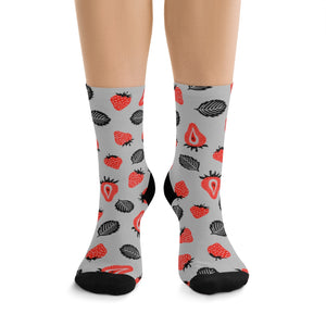 Strawberry Socks - (Grey)