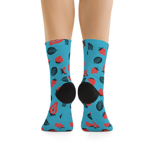 Strawberry Socks - (Turquoise+Red)