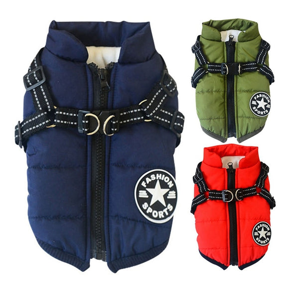 Pet Harness Coat Winter Cotton Jacket with Harness - Daily essentials