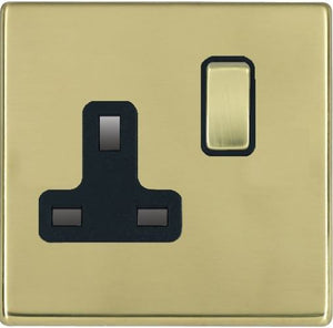 Hamilton Hartland CFX Polished Brass 1 gang 13A Double Pole Switched Socket Polished Brass