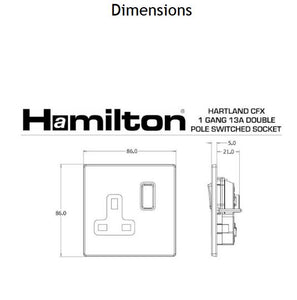 Hamilton Hartland CFX Satin Steel 1 gang 13A Switched Socket -Double Pole.