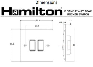 Hamilton Vogue White 2 gang 2 Way 10AX Rocker.