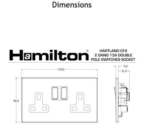 Hamilton Hartland CFX Satin Steel 2 gang 13A Switched Socket -Double Pole.