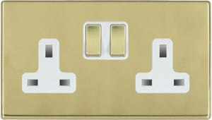 Hamilton Hartland CFX Polished Brass 2 gang 13A Double Pole Switched Socket Polished Brass