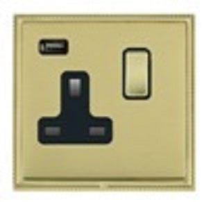 Hamilton Switched Socket 1 Gang 13A with USB Polished Brass