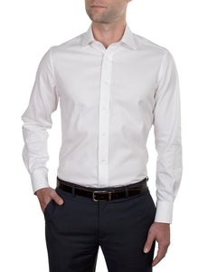 Hardy Amies White Textured Business Shirt