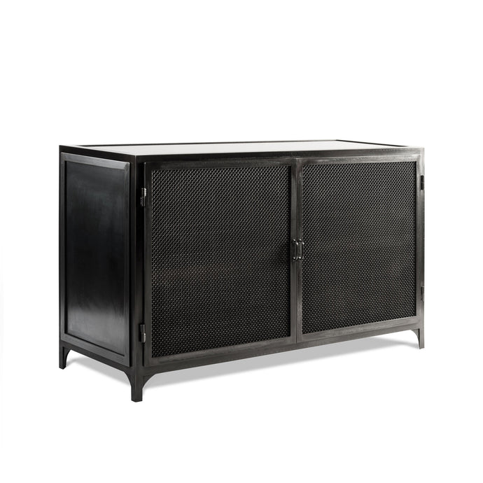 Bailey Console, blackened steel industrial media storage with mesh doors