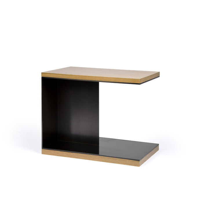 Berlin Side Table, modern blackened steel side table with white oak top and bottom