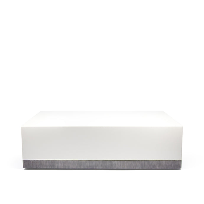 Corian Coffee Table, white corian table with hand textured steel detailing along bottom edge