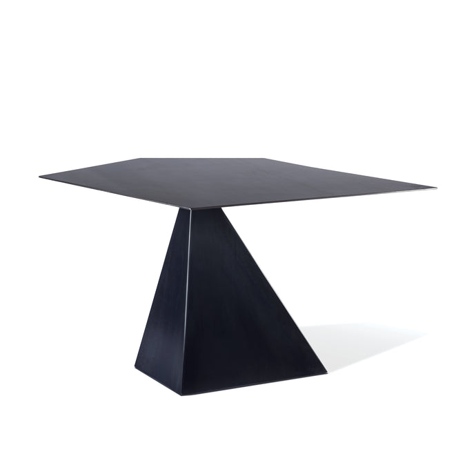 Diamond Table, asymmetrical steel table with gun blue finish