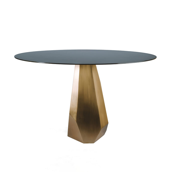 Jewel Table, asymmetrical geometric table with round blackened steel top and silicon bronze base