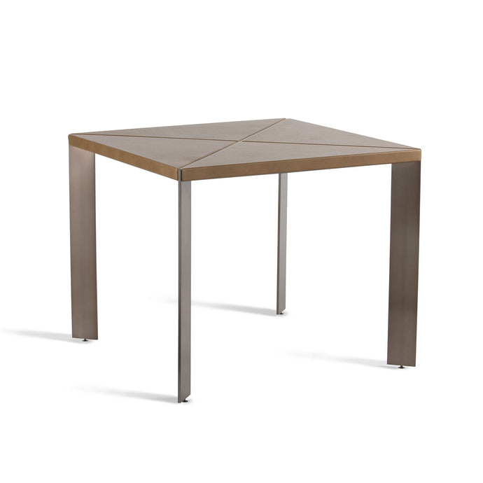 Bluff Leather Table, square table with powder coated angled steel legs and leather upholstered top