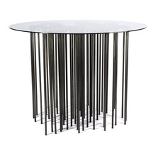 Load image into Gallery viewer, Mara Table side view, marine inspired blackened steel side table with organic form and many legs with glass top