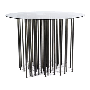Mara Table side view, marine inspired blackened steel side table with organic form and many legs with glass top