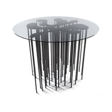 Load image into Gallery viewer, Mara Table, marine inspired blackened steel side table with organic form and many legs with glass top