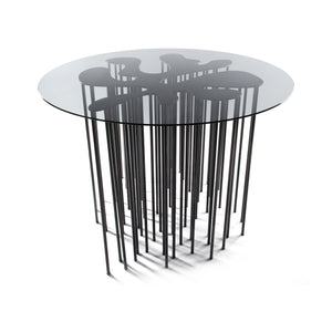 Mara Table, marine inspired blackened steel side table with organic form and many legs with glass top