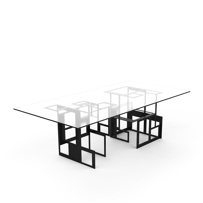 Moda Table, Contemporary geometric table inspired by Mondrian in blackened steel with glass top
