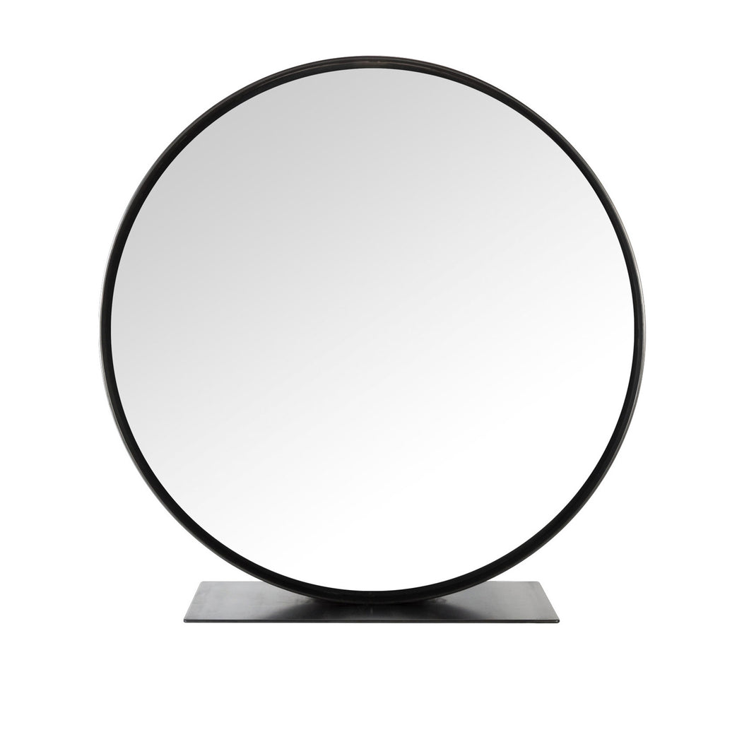 Mondo Mirror, large scale modern mirror with blackened steel frame