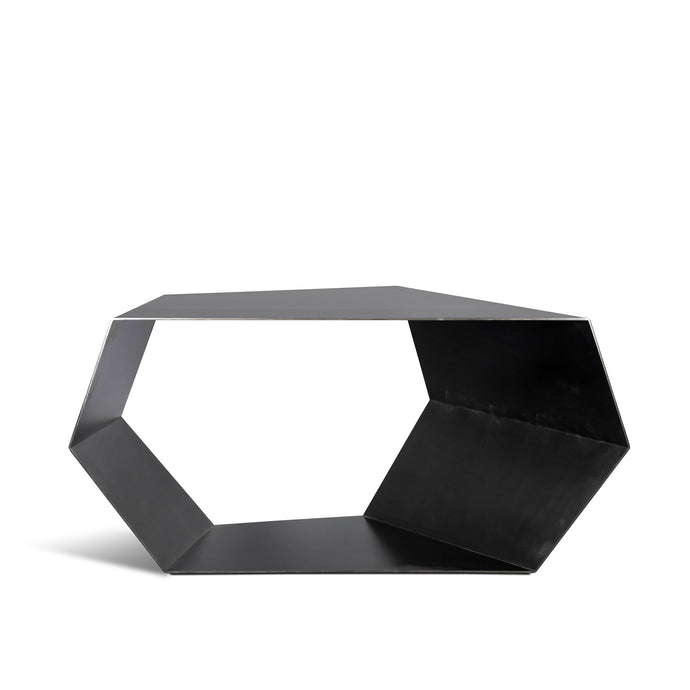 Open Geo Table, geometric blackened steel display table