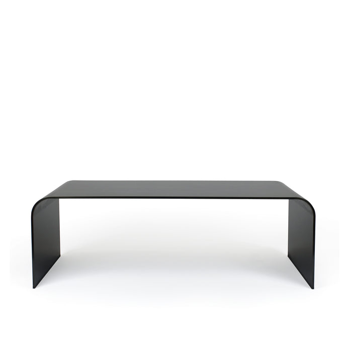Lin Bench, minimalist curved bench in blackened hot rolled steel