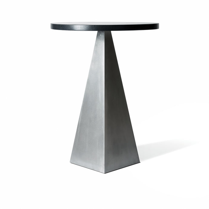 Pedestal Table, pyramid form blackened steel table with espresso oak top