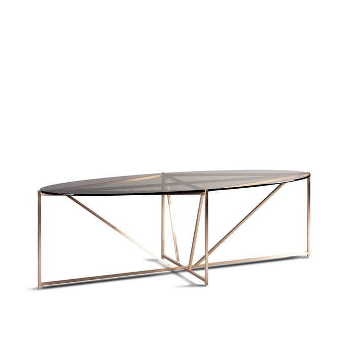 Prism Table, geometric bronze coffee table with tinted glass top